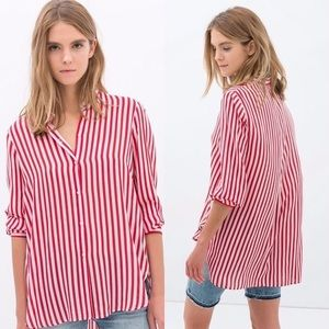 Zara Red and White Striped Button Down Shirt